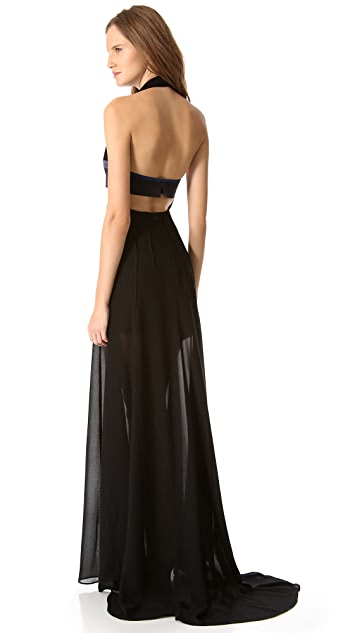 Cedric Charlier Gown with Cutout Bust Detail