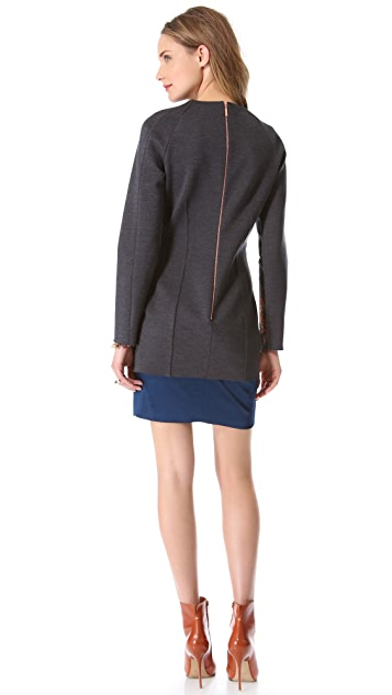 Cedric Charlier Brocade Dress with Long Sleeves