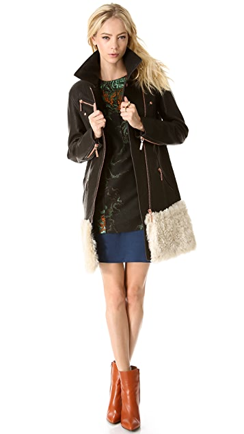 Cedric Charlier Fur & Leather Coat