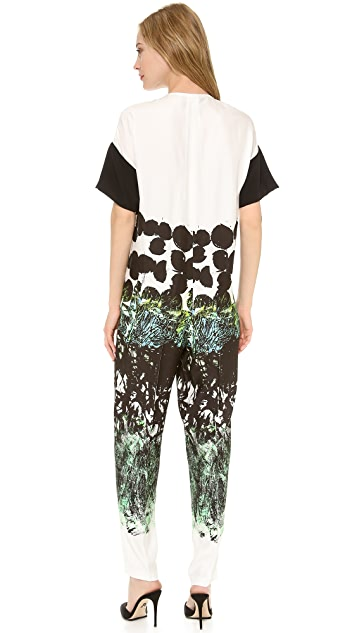 Cedric Charlier Printed Short Sleeve Jumpsuit