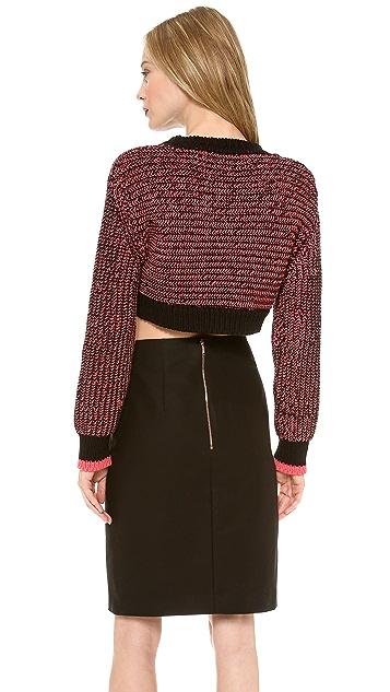 Cedric Charlier Cropped Melange Sweater