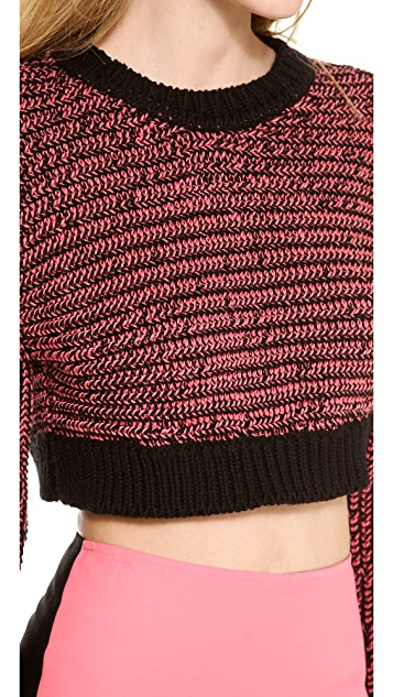 Cedric Charlier Cropped Melange Sweater