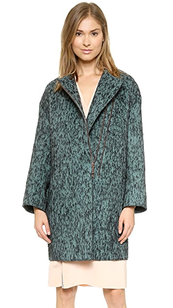 Cedric Charlier Zip Coat with Snake Embossed Back