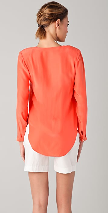 Chalayan Grey Line V Neck Blouse