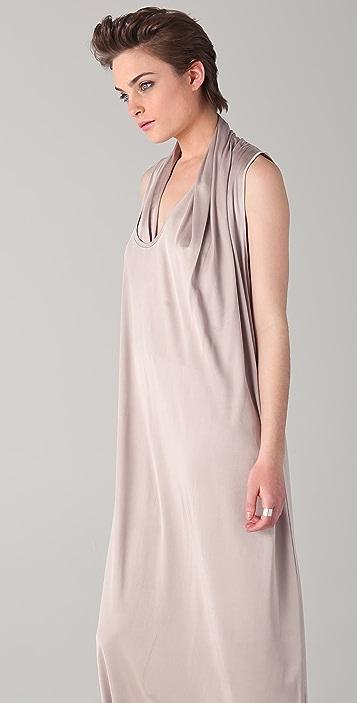 Chalayan Grey Line Asymmetrical Scarf Long Dress