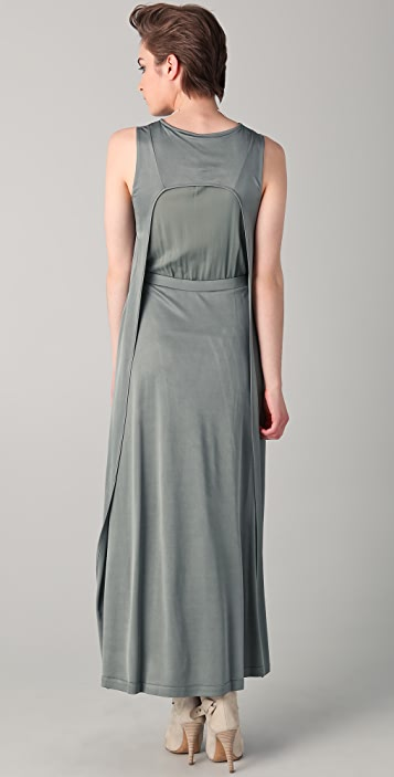 Chalayan Grey Line Side Pinch Maxi Dress