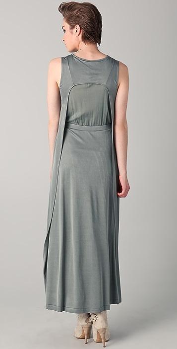 Chalayan Grey Line Side Pinch Maxi Dress