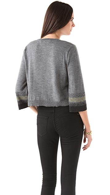 Chalayan Grey Line Intarsia Sweater