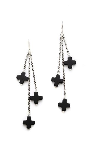 Chan Luu Onyx Tri-Drop Earrings