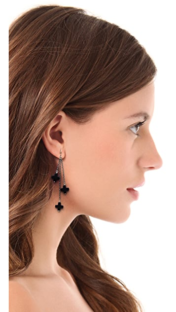 Chan Luu Onyx Tri-Drop Earrings