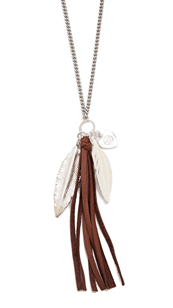 Chan Luu Leather Tassel Charm Necklace