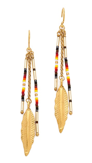 Chan Luu Feather Beaded Earrings