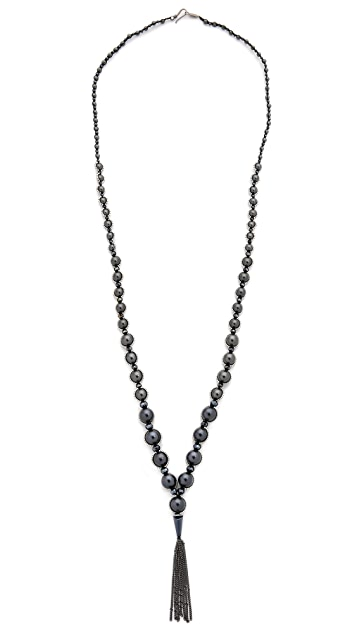 Chan Luu Chain Tassel Beaded Necklace