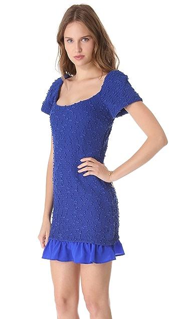 Charles Henry Ruffle Hem Boucle Dress