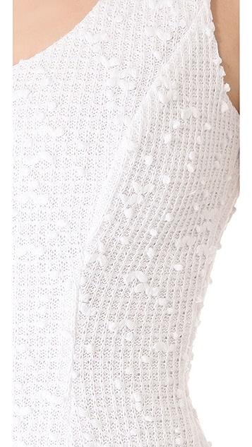 Charles Henry Flutter Hem Boucle Dress