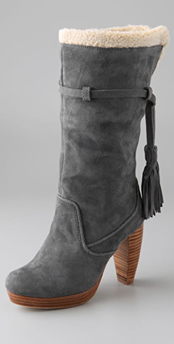 Charlotte Ronson Agata Suede Boots with Sherpa Trim