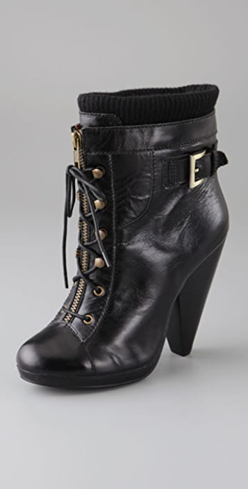 Charlotte Ronson Agna Lace Up Booties with Sweater Trim