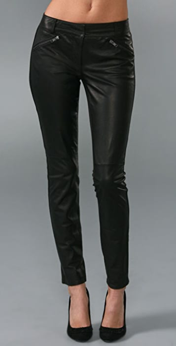 Charlotte Ronson Zipped Leather Pants