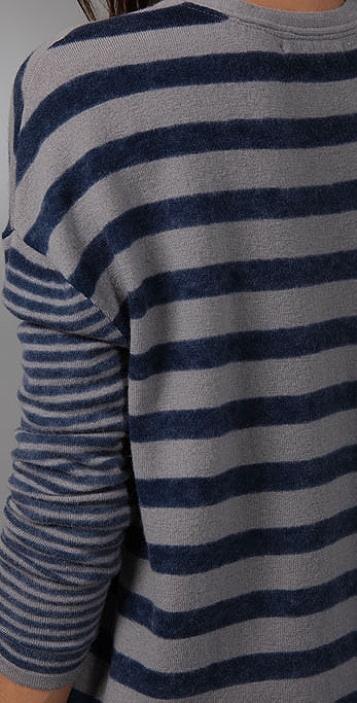 Charlotte Ronson V Neck Striped Sweater