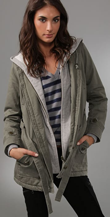 Charlotte Ronson Hooded Army Jacket