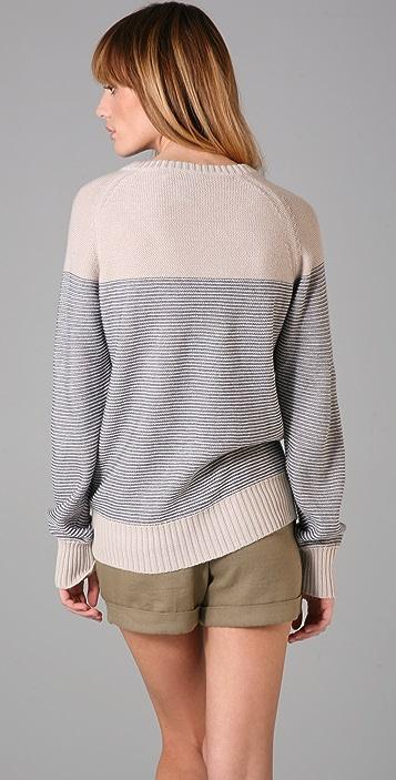 Charlotte Ronson Burlap Stripe Raglan Sweater