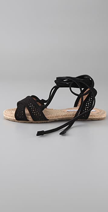 Charlotte Ronson Suede Perforated Espadrille Flat Sandals