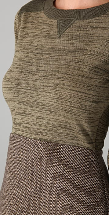 Charlotte Ronson Tweed Combo Sweater Dress