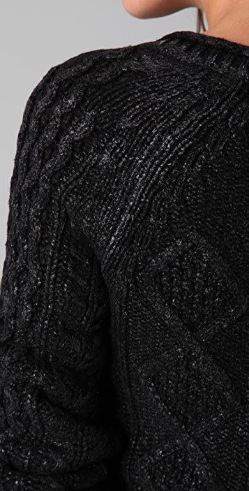 Charlotte Ronson Cable Knit Sweater with Foil Print