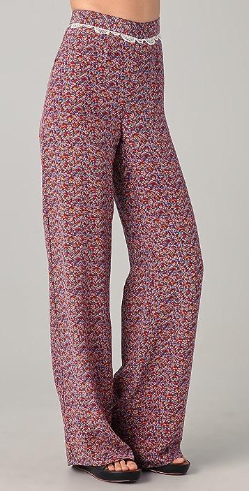 Charlotte Ronson Floral Silk Wide Leg Pants