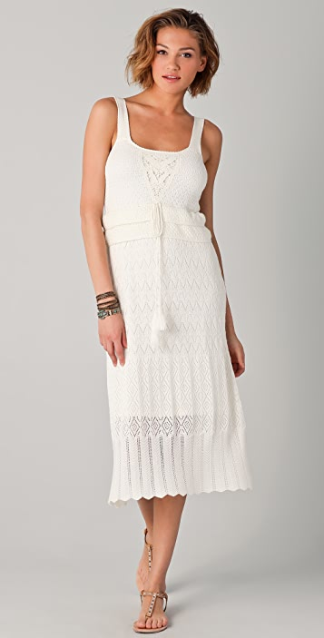 Charlotte Ronson Crochet Midi Sweater Dress