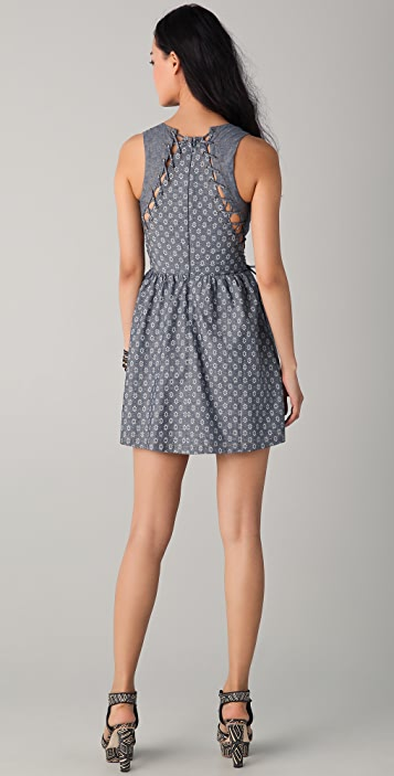 Charlotte Ronson Print Chambray Dress with Cutouts