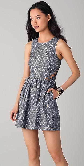 Charlotte Ronson Print Chambray Dress with Cutouts