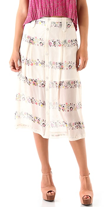 Charlotte Ronson Floral Button Midi Skirt