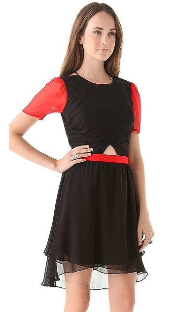 Charlotte Ronson Cutout Dress with High Low Hem