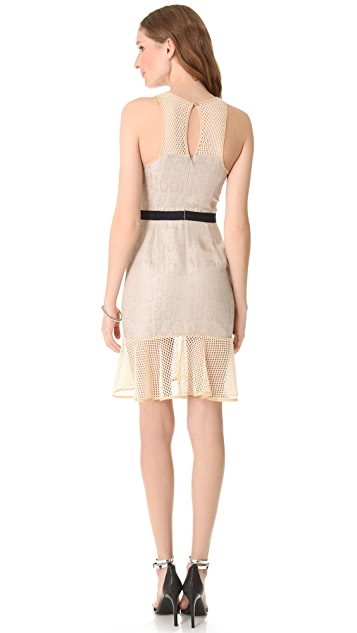 Charlotte Ronson Net Paneled Flounce Dress