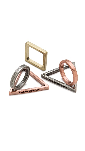 Cheap Monday Geometry Stacking Ring Set