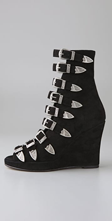 Chloe Sevigny for Opening Ceremony Multi Buckle Suede Wedge Booties