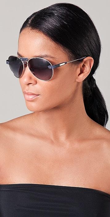 Oversized Tamaris Aviator Sunglasses with Leather Trim