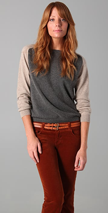 Chinti and Parker Contrast Sleeve Cashmere Sweater
