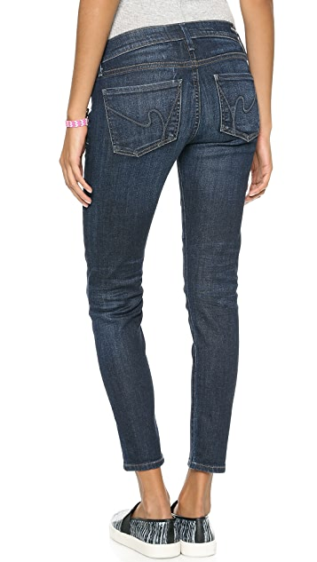 Citizens of Humanity Avedon Cropped Ultra Skinny Below the Belly Band Jeans