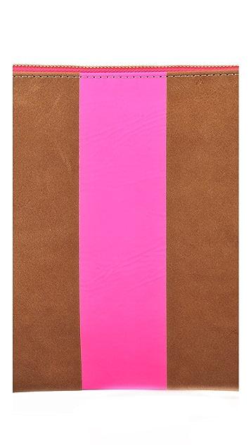 Clare V. Neon Stripe Flat Clutch