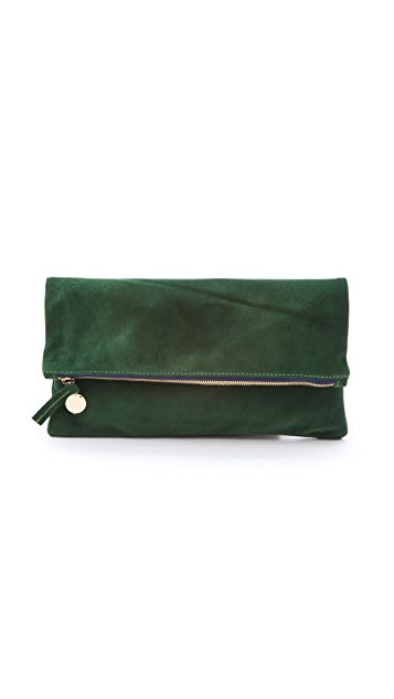 Clare V. Fold Over Suede Clutch