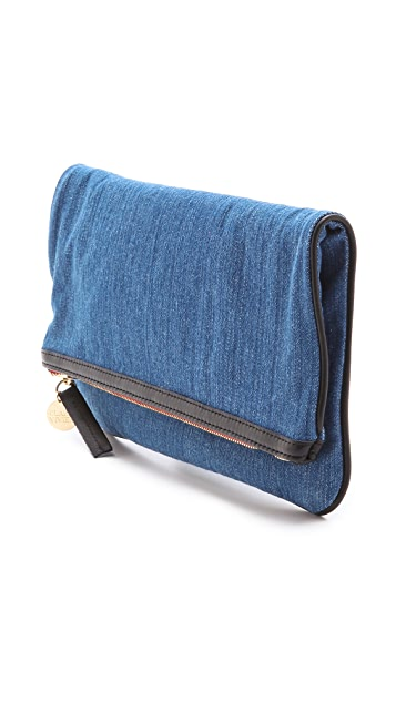 Clare V. Fold Over Denim Clutch