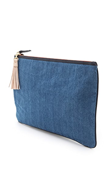 Clare V. Oversized Denim Clutch with Tassels