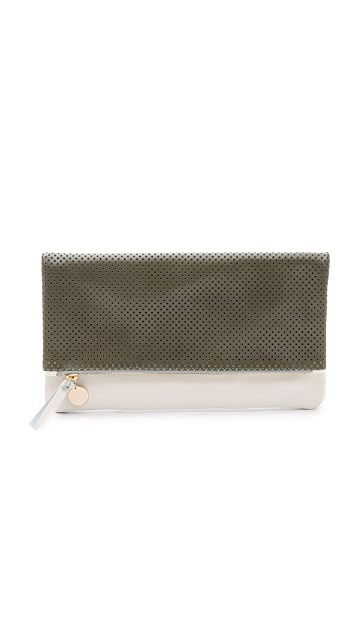Clare V. Perforated Supreme Fold Over Clutch