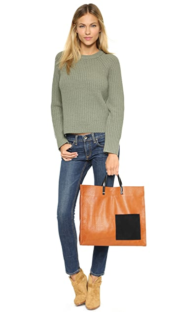 Clare V. Simple Tote with Patch Pocket