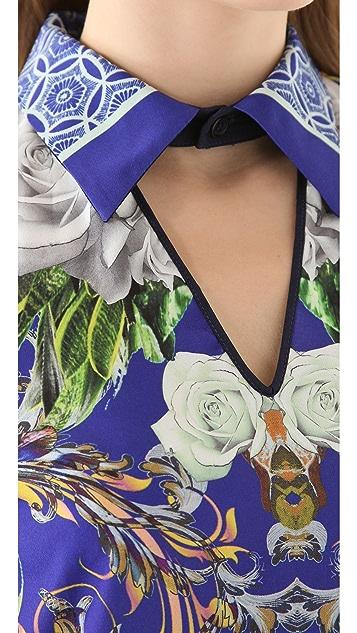 Clover Canyon Baroque Rose Scarf Shirtdress