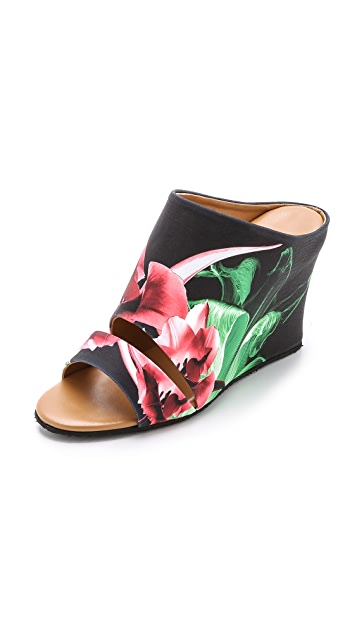 Clover Canyon Silent Flower Black Wedge Mules Shopbop