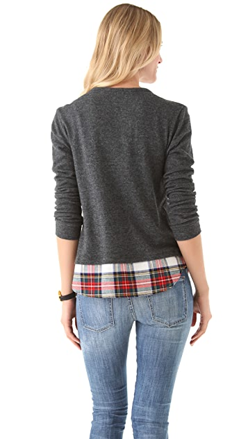 Clu Cardigan with Plaid Shirttail