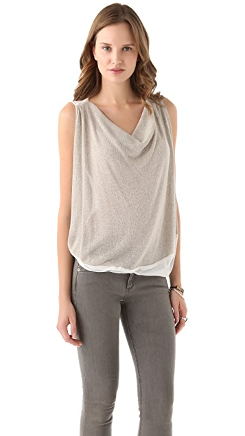 Clu Metallic Draped Knit Top